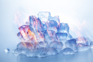 Image of ice cubes that are on fire.