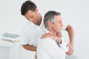 Man receiving chiropractic care for his back