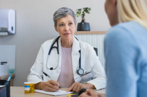Patient having a consultation with a doctor.