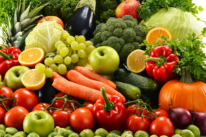 Collection of many different healthy fruits and vegetables.